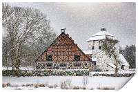 Hovdala Castle Gatehouse and Stables in Winter, Print