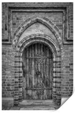 Roskilde Cathedral Door Monochromatic, Print