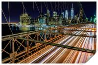 Brooklyn Bridge New York City At Night, Print