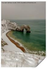 Durdle Door covered in snow , Print