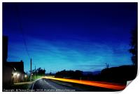 Noctilucent clouds glow above the cars , Print