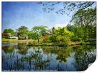 """""""Blue sky reflections at Thorp Perrow"""", Print"""