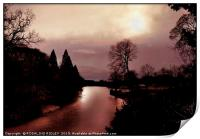 """Misty evening silhouette at Wynyard "", Print"