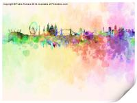 London skyline in watercolor background, Print