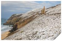 Engine House in the snow (Wheal Coates), Print