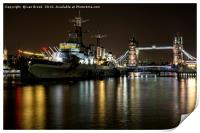 HMS Belfast and Tower Bridge, London, Print