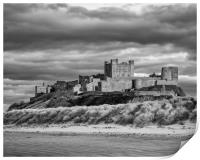 Sunset at Bamburgh Castle in B&W, Print