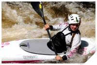Young female canoeist on the River Treveryn , Print