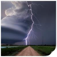 Huge lightning strike over Nebraska, USA. , Print