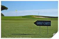Golf Carts sign on a Golf Course, Print