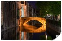 Canals of Bruges at night, Print