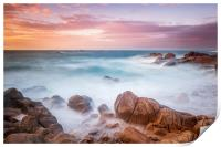 Sunset at cobo bay Guernsey , Print