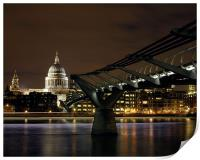 Millennium Bridge and St Paul's Cathedral at Nigh, Print