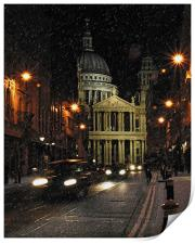 St Paul's Cathedral in the snow, Print