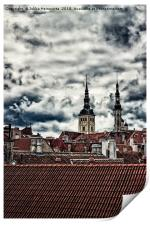 Church Towers Behind The Rooftops, Print