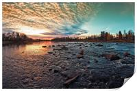Dramatic Sunset By The River, Print