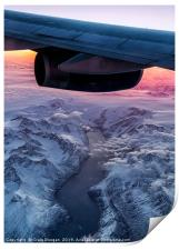 Flying over Greenland at 38000ft, Print