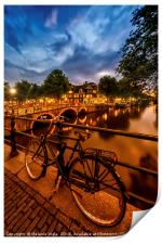 AMSTERDAM Evening impression from Brouwersgracht , Print