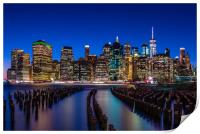 The New York City Skyline at night from DUMBO Broo, Print