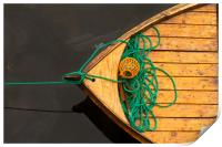 Fisherman boat with ropes and float. Norway., Print