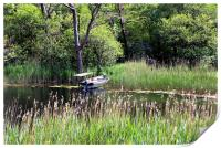Old used boat next to wooden dock on pond, Print