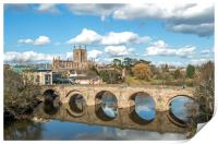 Hereford Cathedral and St Martins Bridge , Print