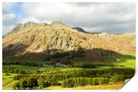 The Langdale Pikes from Langdale Pass , Print