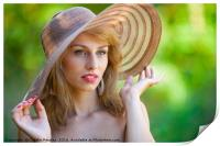 Beautiful blonde with hat outdoors, Print