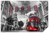 British bus and flags in Oxford Street, London, Print