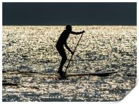 Paddle Boarder at Newgale, Pembrokeshire., Print
