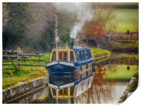 Canal Boat on Brecon and Monmouthshire Canal., Print