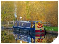 Canal Boat in Winter., Print