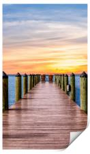 Adirondack Chairs at End of Pier, Print
