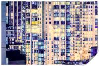 Urban Sprawl Downtown Moonlit Vancouver Canada, Print