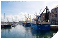 Fishing boats in Sutton Harbour, Print