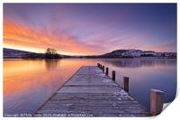 Winter Sunrise at Llangorse Lake., Print