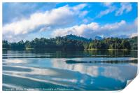 Beautiful lake landscape with jungle covered mount, Print