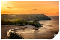 Golden Sunrise at Three Cliffs Bay, Print