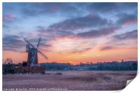 Cley Windmill at Sunset, Print