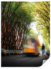 Moving tram on tree-lined path , Print