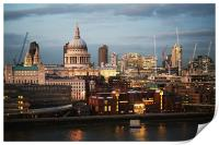 City of London and St Paul's Cathedral at dusk, Print