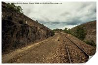 Old train tracks between mountains on a cloudy day, Print