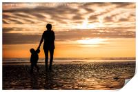 Family in the Worthing Sunset, Print