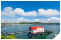 Old historic lifeboat station and slipway at Tenby, Print