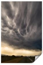 Road trip with dramatic sky, Print