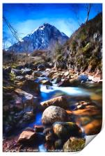 Stob Dearg with a impressionist painting effect., Print