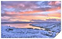 Winter sunset over the sea, Shetland, Print