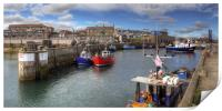 Fishing Boats at Seahouses Harbour - Panorama, Print