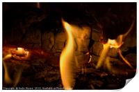Open flame in fireplace, Print