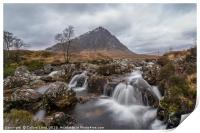 Buachaille Etive Mòr Mountain and Waterfall, Print